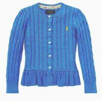 Polo Ralph Lauren Girl/'s Cotton Peplum Cardigan MSRP $49.50