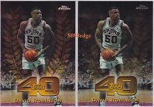 (2) 1997-98 TOPPS CHROME TOPPS 40 REFRACTOR: DAVID ROBINSON #23 SPURS INSERT LOT