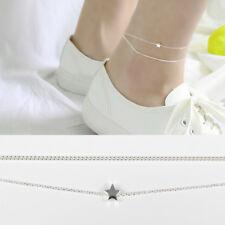 Doppel Fußkettchen Stern echt Sterlingsilber 925, 19 - 22 cm Damen Fußkette