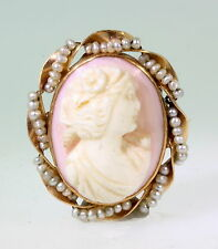 Antique Edwardian Angel Skin CORAL CAMEO Seed Pearl 10k Gold Brooch Pin Pendant