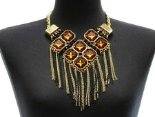Gold Black Tassel Chain Necklace Earrings Set Brown Crystal Stone Necklace