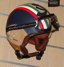 Casco ecopelle interno marrone personalizzato in pelle Bandiera Italiana Vespa