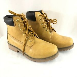 Daily Shoes Womens Work Boots Faux Leather Lace Up Beige Size 9