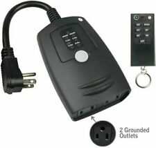 New ListingOutdoor Wireless Remote Countdown Timer 2 Outlet Grounded 2/4/6/8hr Light Timer