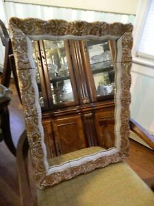 Antique-Vintage Wall Mirror Paisley Ceramic Tile Trim Layered Beveled Edge