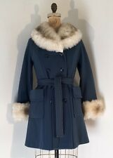 Vintage 1960s/70s Faux Fox Fur Blue Wool Fitted Coat 1970s/60s Mod