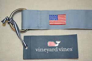 VINEYARD VINES MENS FLAG D-RING BELT SIZE SMALL, S, BLUE PATRIOTIC USA NWT