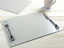 Set of 6 Stone Grey EXTRA LARGE Leatherboard PLACEMATS