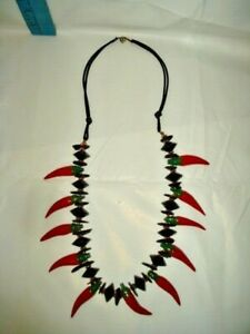 Vtg Red Hot Chili Pepper Hand Carved Wooden Beads Black, Gold tone Bead Necklace