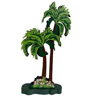 SHELIA'S Collectibles Collectible HOUSES PALM TREES WITH STAND VINTAGE WOODEN