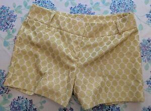 Ann Taylor LOFT Womens Green Cream Geometric Shorts Size 4