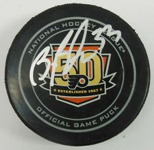 BRIAN BOUCHER SIGNED PHILADELPHIA FLYERS 50TH ANNIVERSARY OFFICIAL PUCK 1009546