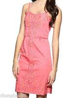 New Ex-Chainstore Asos Pink Coral Battenburg Panel Embroidered Dress Size 6-12