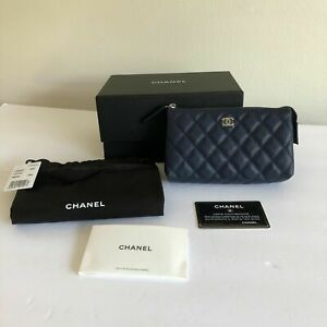CHANEL Small Navy Leather Caviar Quilted Pouch~Zip Top,Side Snap CC Logo NEW COA