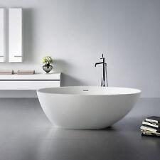 Bad freistehende Standbadewanne Mineralguß Badewanne Wanne weiß matt 160x76cm