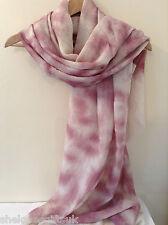 Ladies Women Soft Dusty Tie Dye PINK Print Scarf Wrap Shawl Pashmina Frayed Edge