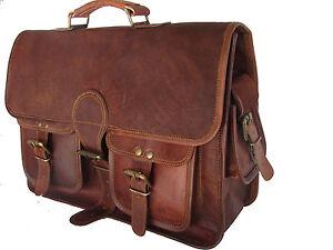 New Men Goat Leather Vintage Dark Brown Messenger Shoulder Laptop Bag Briefcase