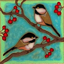 Ceramic tile Chickadees wall decor hotplate installation backsplash mural mosaic