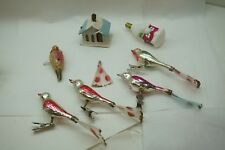 Vintage Christmas Ornaments Lot Figural Birds Tails Lighted House Cockatoo d
