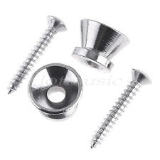 2 Pcs Guitar Strap Locks Buttons End Pins for Electric Acoustic Guitar Chrome