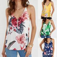 Women Vintage Printed Strappy Sleeveless T-Shirt Summer Ladies Zipper Top Blouse