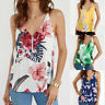 Women Floral Print Strappy Sleeveless TShirt Summer Ladies Zipper Tops Blouse UK
