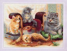 Feline Family Riolis Counted Cross Stitch Kit NEW 15.75