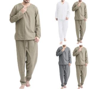 2Pcs Mens Linen Pajamas Set Tops Shorts Loungwear Nightwear Suits PJ Sleep Wear