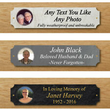 Outdoor Photo Memorial Bench Plaque, Any Text-Photo, Grave Sign, In Memory Sign