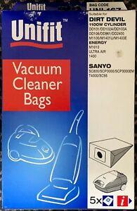 5x UNIFIT UNI167 DIRT DEVIL ENERGY SANYO Hoover Bags