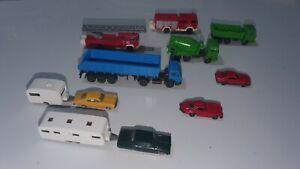 LOT OF WIKING GERMANY CARS, TRUCKS, FIRE ENGINE, CARAVAN, DUMP TRUCK, MERCEDES