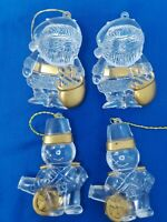 Vintage NUTCRACKER & SANTA Clear Acrylic Plastic Christmas Ornaments Gold Accent