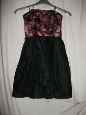 Portmans Pink Black and Lace Corset Style Elastics Back Knee Length Dress Size 6