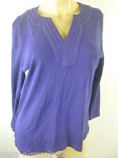 Mujer En Morado Cuello En V 100% Algodón 3/4 Con mangas Camiseta UK 14 UE 42