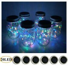 6-Pack Mason Jar Lights 20 Led Solar Colorful Fairy String Lights Lids Insert