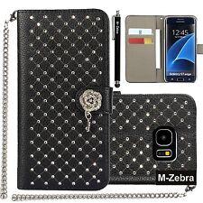 Galaxy S7 Edge Case S7 Edge Wallet Case M-Zebra Luxury Rhombus Design Pendant...