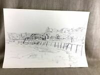 Originale Grafica Disegno Art Porto Vista Landscape Schizzo British Artista