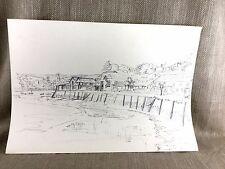 Original obra de arte dibujo Harbor Puerto Barco de Pesca Escena Costera enumerados artista