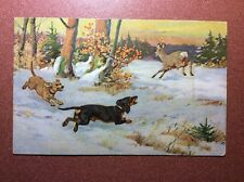Antique Postcard 1909s Chien Dog Dachshund Teckel deer hunting. Artist M. Muller