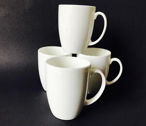 Set of 4 Plain White Bone China Tea/Coffee Mugs