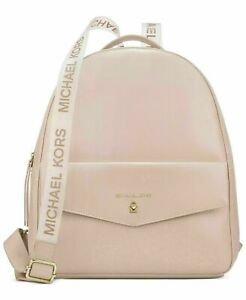 MICHAEL KORS blush faux leather Backpack light pink travel Book School Bag New!