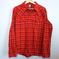 Stio Junction Flannel Shirt Men's Medium Orange Plaid Cotton Button Flap Pockets