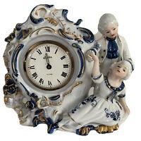 Vintage Porcelain China Alarm Clock Made in Japan Blue & White~ Needs New Inside