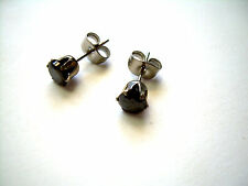Earrings Black Round CZ Gem Surgical Steel Stud Post Mounting 8mm DB4