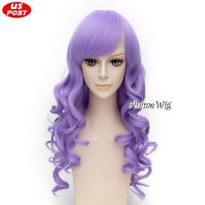 Party Women Long Light Purple Curly Lolita Heat Resistant Cosplay Hair Wig