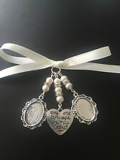Bridal Bouquet Double Oval Photo Frame Charm Wedding With Heart Swarovski Beads