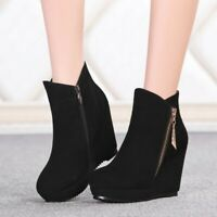 Women Wedge Round Toe Ankle Boots Side Zipper Platform High Heel Black New Shoes