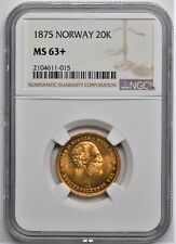 New Listing1875 Norway Gold 20K Kroner Ngc Ms 63+