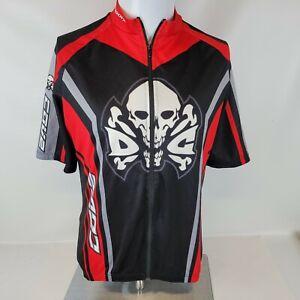 Sugoi Mens Cycling Jersey LARGE Black Gray White SS Skull & Cross Bones