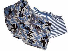 P.J. Salvage 2 Pair Sleepwear Pajama Shorts NWT Camo & Stripes Medium Blue White